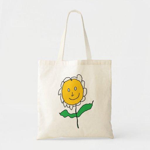 Flor dos desenhos animados bolsa para compras