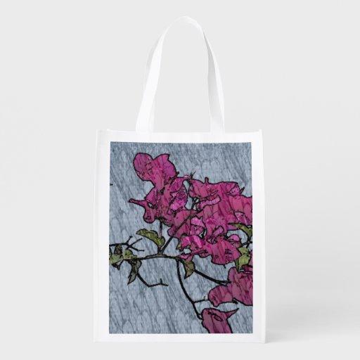 Flor dos desenhos animados sacolas ecológicas para supermercado