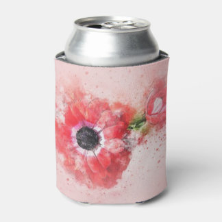 Flor em botão cor-de-rosa w/Flower da aguarela Porta-lata
