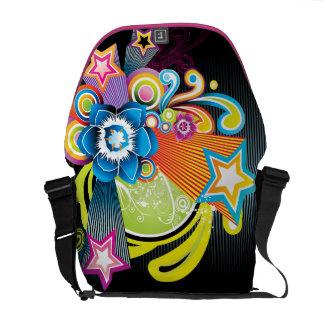 Flor & estrelas 3D abstratas coloridas bonitas Bolsas Mensageiro