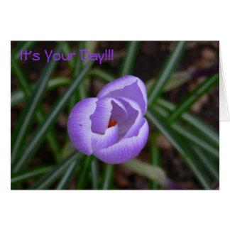 Flor feliz do Aniversário-açafrão Cartão