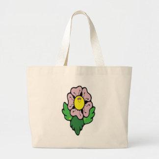 Flor feliz dos desenhos animados bolsa de lona