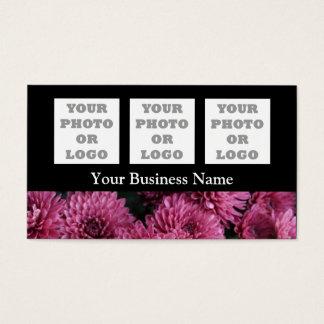 Flor floral cor-de-rosa bonito no preto cartão de visitas