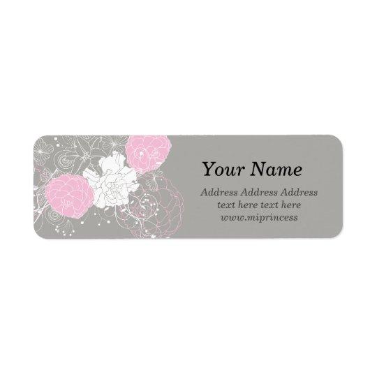 flor floral cor-de-rosa, etiquetas de endereço do