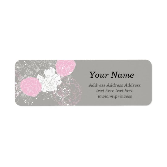 flor floral cor-de-rosa, etiquetas de endereço do etiqueta endereço de retorno
