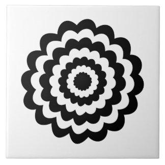 Flor Funky em preto e branco. Azulejos