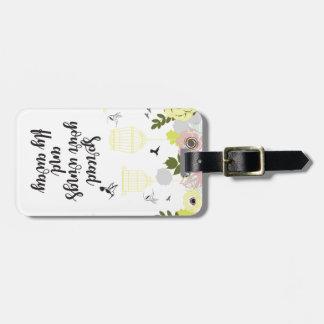 Flor & gaiolas! etiqueta de bagagem