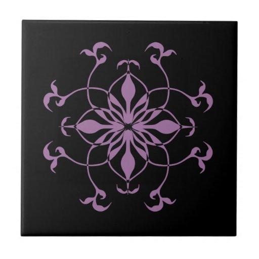 Flor gótico roxa e preta azulejo de cerâmica