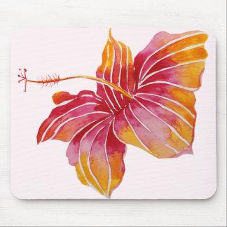 Flor havaiana vermelha & cor-de-rosa Mousepad do