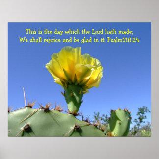 flor inspirada do cacto do poster do salmo pôster