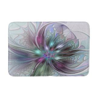Flor moderna do Fractal do abstrato colorido da Tapete De Banheiro