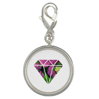 flor moderna elegante do lilac do diamante charms com fotos