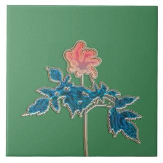 Flor no rosa azulejo quadrado grande