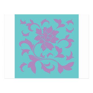 Flor oriental - hortelã do Lilac Cartão Postal