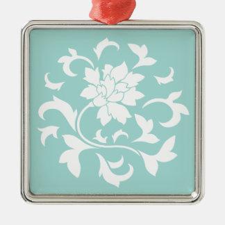 Flor oriental - Limpet Shell Ornamento Quadrado Cor Prata