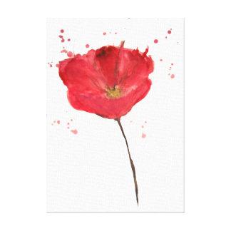 Flor pintada da papoila da aguarela impressão em tela
