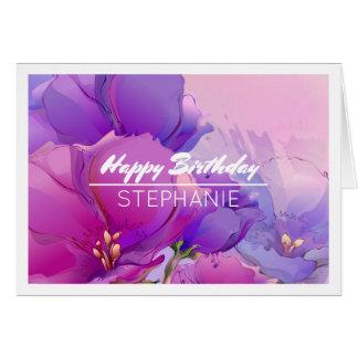 Flor que pinta cartões de aniversário conhecidos