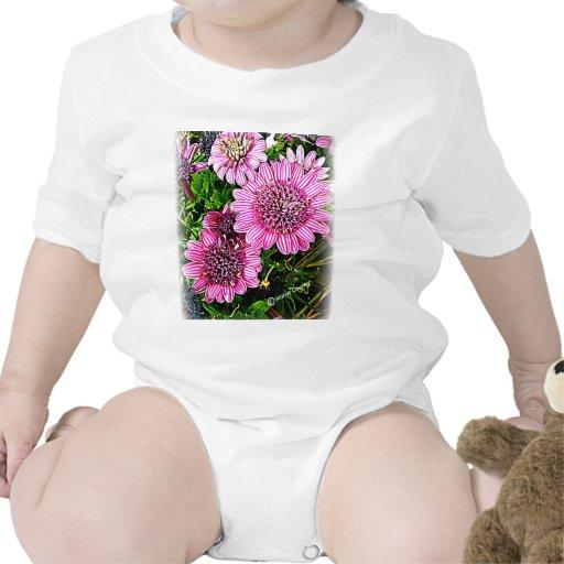 Flor roxa/cor-de-rosa macacãozinhos para bebê