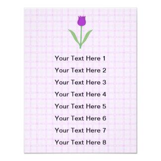 Flor roxa da tulipa convite 10.79 x 13.97cm