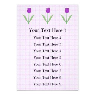 Flor roxa da tulipa convite 12.7 x 17.78cm