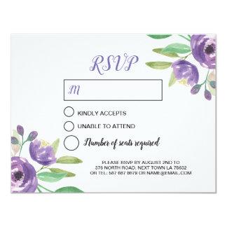 Flor roxa pintada aguarela do cartão de casamento