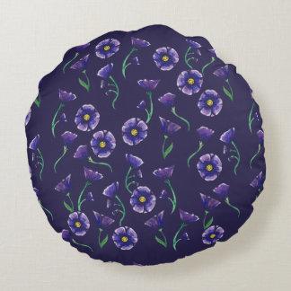 Flor roxa violeta almofada redonda