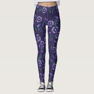 Flor roxa violeta legging