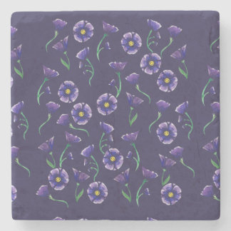 Flor roxa violeta porta copos de pedra