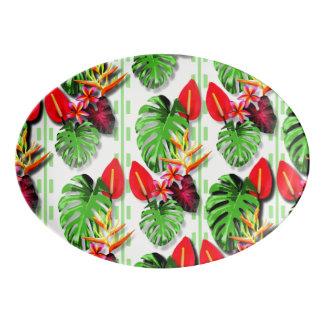 Flor tropical na moda bonita da folha das mulheres travessa de porcelana