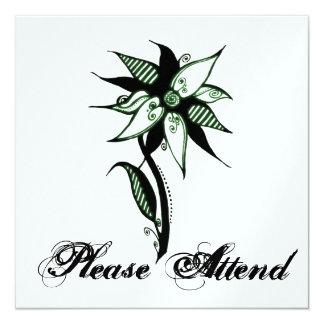 Flor verde & branca preta de Swirly por Naomi Convite Quadrado 13.35 X 13.35cm