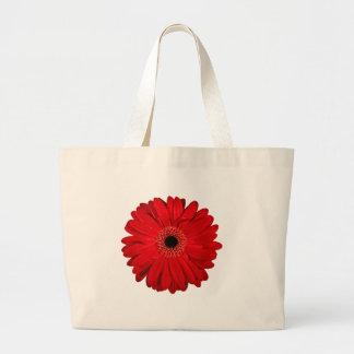 Flor vermelha bolsa tote grande