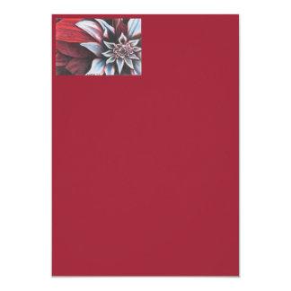 Flor vermelha & branca do inverno convite 12.7 x 17.78cm