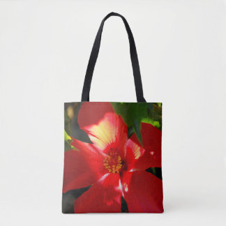Flor vermelha do hibiscus na luz solar bolsa tote