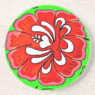 Flor vermelha no fundo verde porta-copos