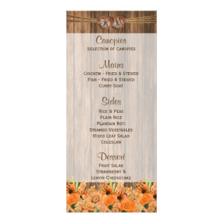 Floral alaranjado bonito na madeira - menu