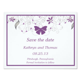 Floral and butterfly Save The Date Card Convite 10.79 X 13.97cm