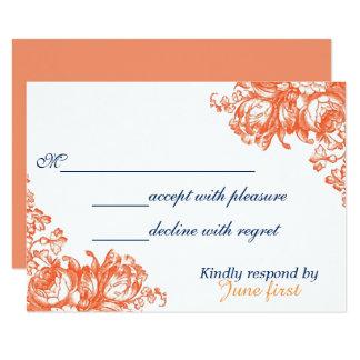 Floral antigo alaranjado & branco convite 8.89 x 12.7cm