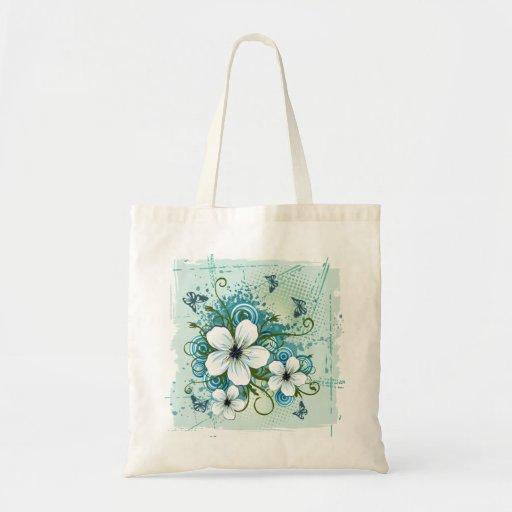 Floral azul & borboletas do verão bolsa para compras