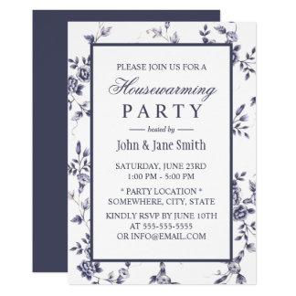Floral azul & branco da porcelana do vintage do convite 12.7 x 17.78cm