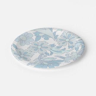 Floral azul das PLACAS DE PAPEL Prato De Papel