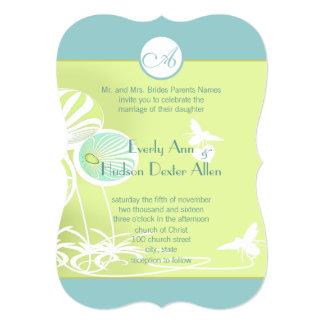 Floral azul do Aqua Bumble o convite do casamento