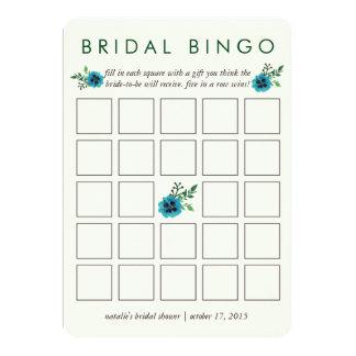 Floral azul do cartão de jogo | do Bingo do chá de Convite 12.7 X 17.78cm