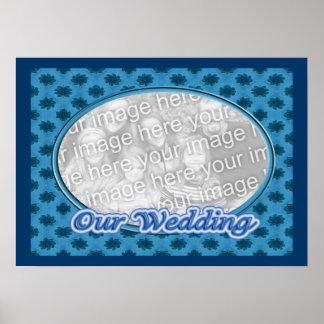 floral azul nosso quadro da foto do casamento pôster