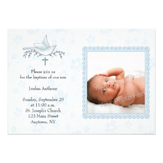 Floral azul pomba cartão com fotos religioso convite personalizado