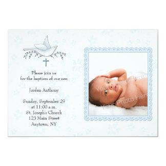 Floral azul, pomba, cartão com fotos religioso convite 12.7 x 17.78cm