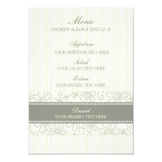 Floral bege e listras do menu do casamento convite 12.7 x 17.78cm