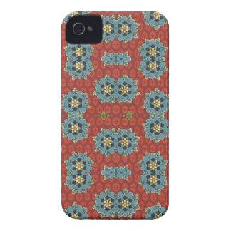 Floral bonito e catita - vermelho e azul capa para iPhone 4 Case-Mate