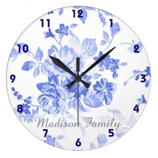floral branco azul do olhar bonito de delft do relógio grande