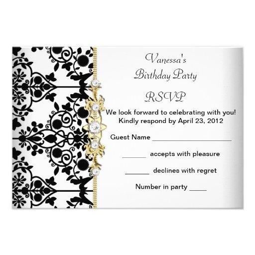 Floral branco do preto do ouro da festa de convite personalizado