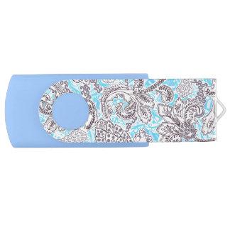 Floral clássico bonito das cinzas azuis pen drive